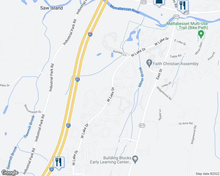 map of restaurants, bars, coffee shops, grocery stores, and more near 101-163 Ridgefield Drive in Middletown