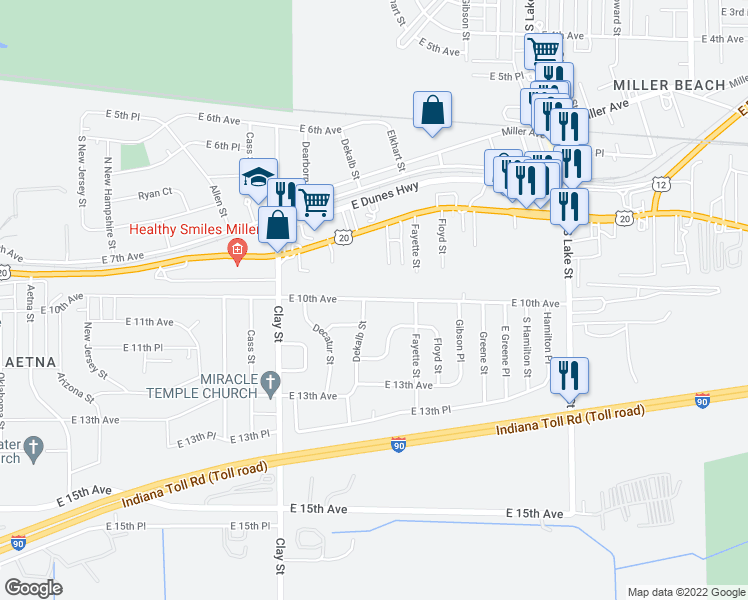 map of restaurants, bars, coffee shops, grocery stores, and more near 1025 Dekalb Street in Gary