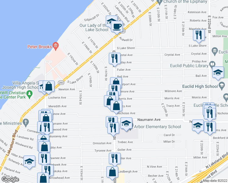 map of restaurants, bars, coffee shops, grocery stores, and more near E 200th St & Wilmore Ave in Euclid