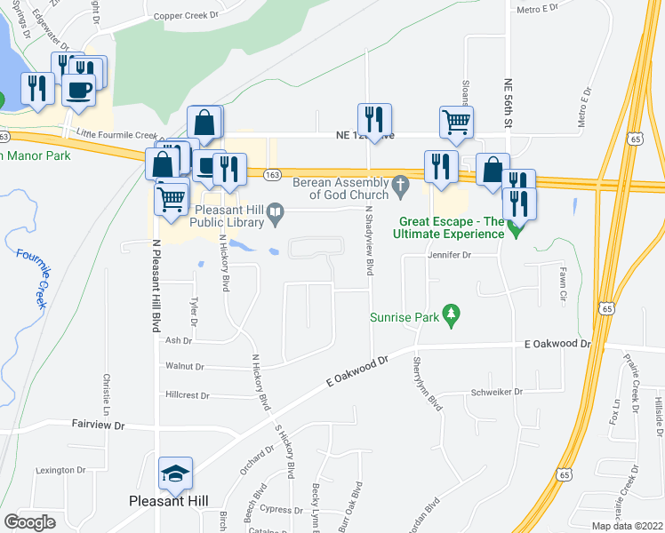 map of restaurants, bars, coffee shops, grocery stores, and more near Cottage Drive in Pleasant Hill