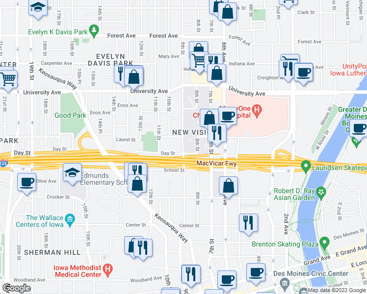 map of restaurants, bars, coffee shops, grocery stores, and more near 901-1099 Day Street in Des Moines