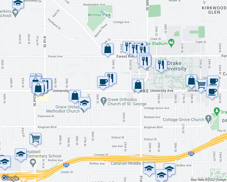 map of restaurants, bars, coffee shops, grocery stores, and more near University Ave & 34th St in Des Moines