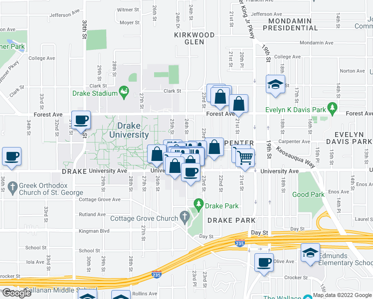 map of restaurants, bars, coffee shops, grocery stores, and more near Carpenter Ave & 24th St in