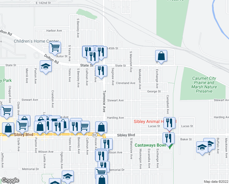 map of restaurants, bars, coffee shops, grocery stores, and more near 295 Saginaw Avenue in Calumet City