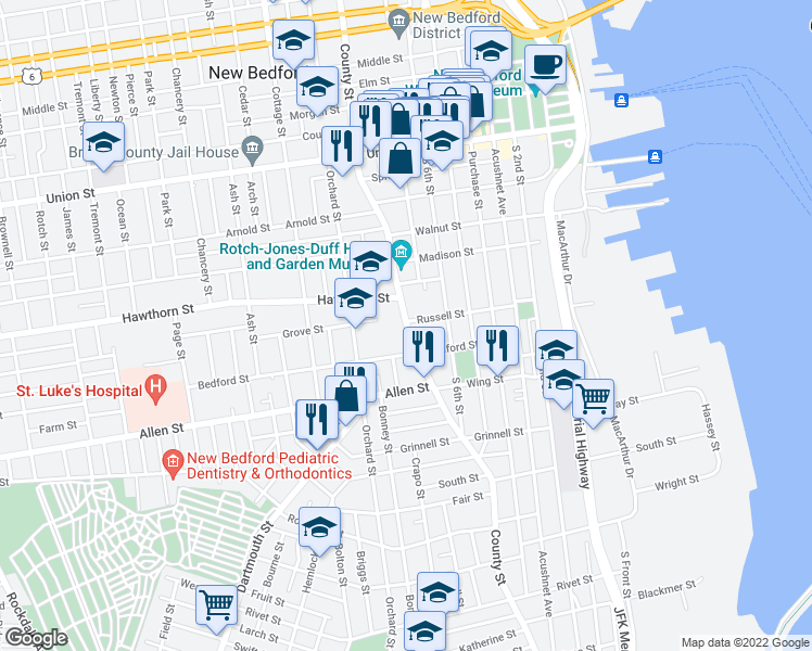 map of restaurants, bars, coffee shops, grocery stores, and more near 22 Hawthorn Street in New Bedford