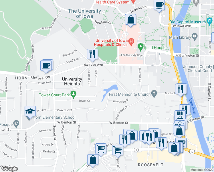 map of restaurants, bars, coffee shops, grocery stores, and more near 101 Woodside Drive in Iowa City