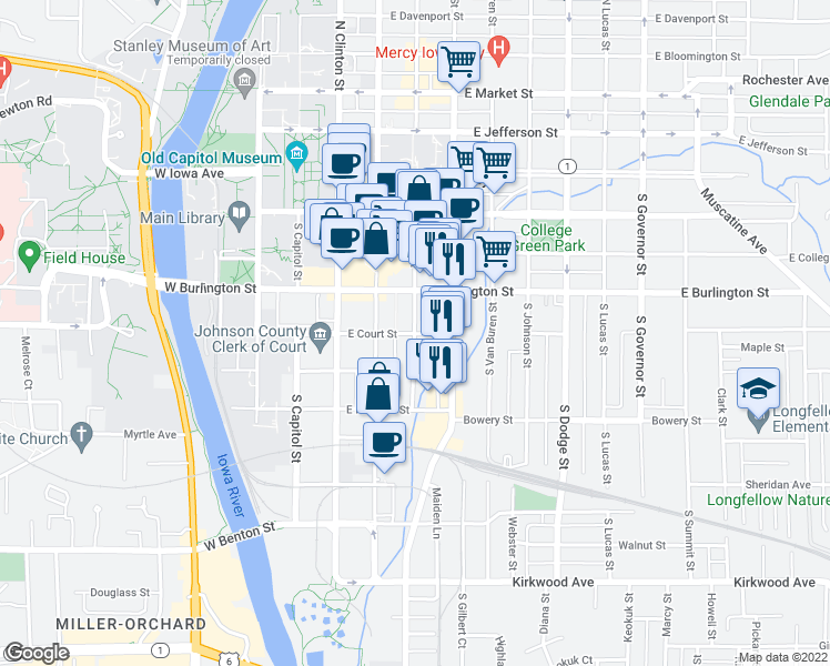 map of restaurants, bars, coffee shops, grocery stores, and more near East Court Street & South Linn Street in Iowa City