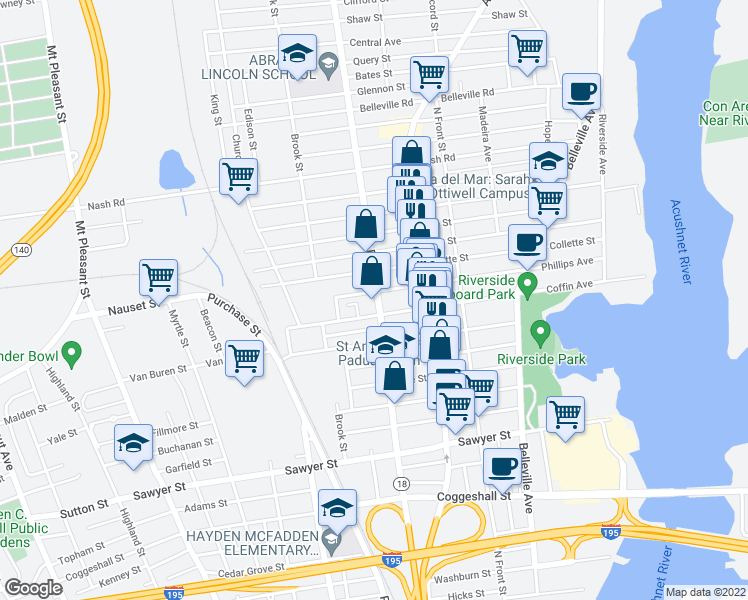 map of restaurants, bars, coffee shops, grocery stores, and more near 251 Ashley Blvd in New Bedford