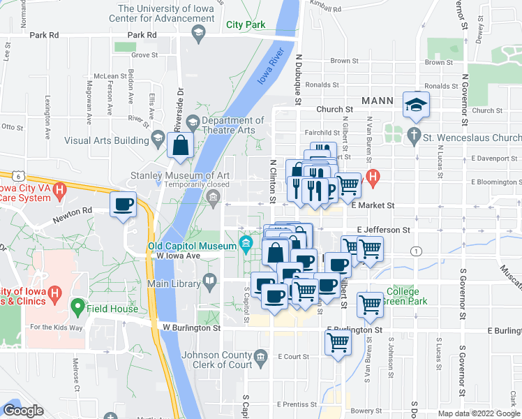 map of restaurants, bars, coffee shops, grocery stores, and more near in Iowa City