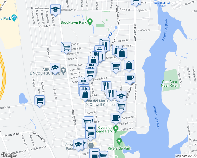 map of restaurants, bars, coffee shops, grocery stores, and more near Belleville Rd & Brightman Ct in New Bedford