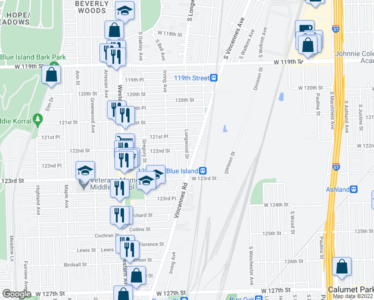 map of restaurants, bars, coffee shops, grocery stores, and more near W 122nd St & Longwood Dr in Blue Island