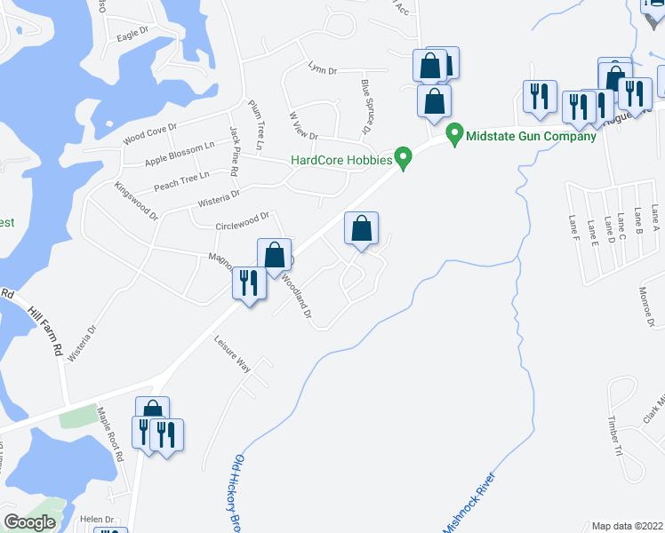 map of restaurants, bars, coffee shops, grocery stores, and more near Woodthrush Drive in Coventry