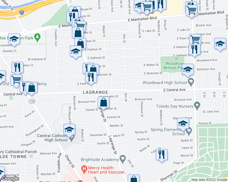 map of restaurants, bars, coffee shops, grocery stores, and more near 302 E Central Ave in Toledo