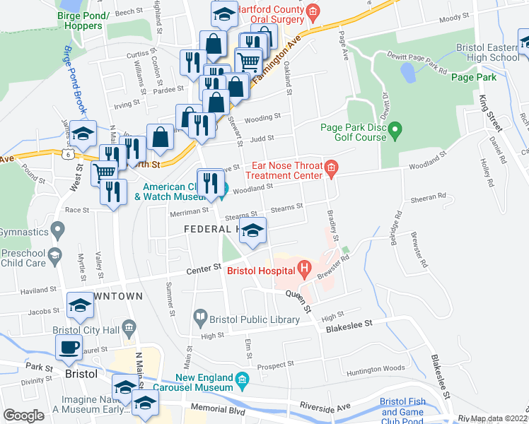 map of restaurants, bars, coffee shops, grocery stores, and more near Stearns Street in Bristol