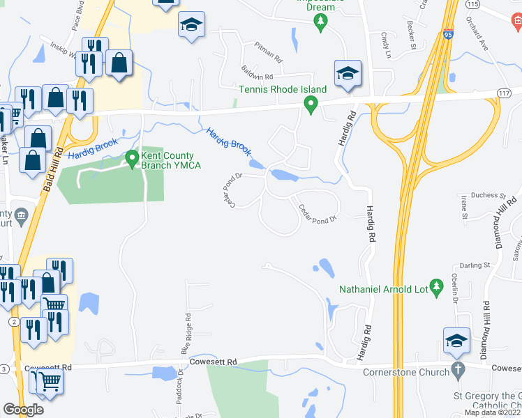 map of restaurants, bars, coffee shops, grocery stores, and more near 26 Cedar Pond Drive in Warwick