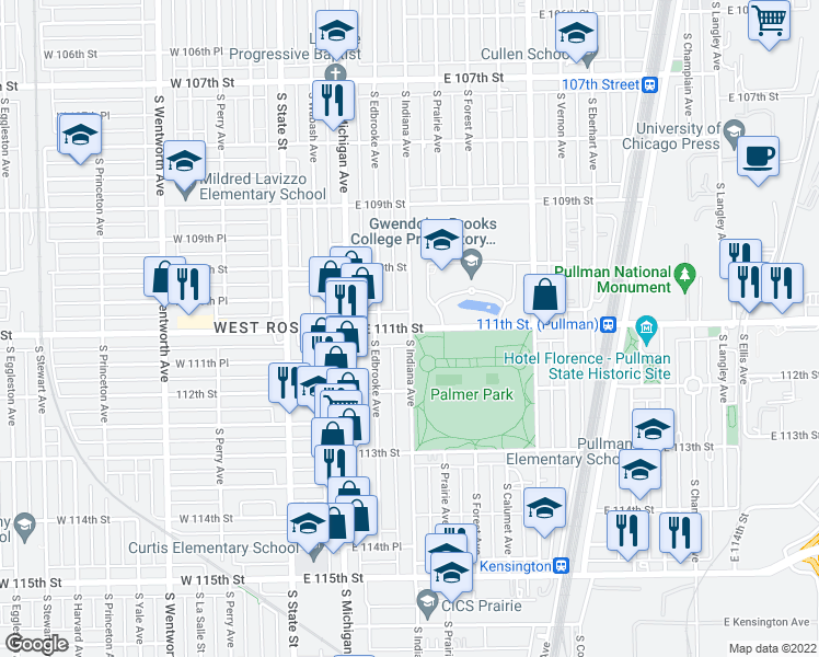 map of restaurants, bars, coffee shops, grocery stores, and more near South Indiana Avenue & East 111th Street in Chicago