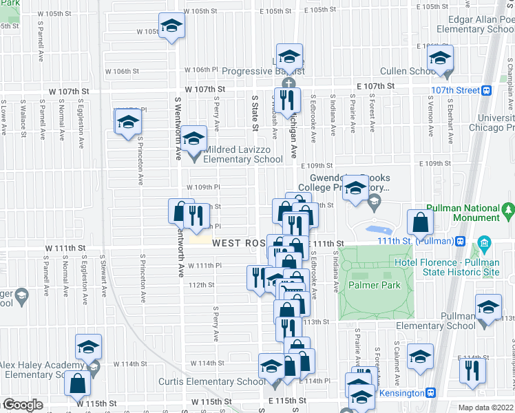 map of restaurants, bars, coffee shops, grocery stores, and more near S State St & W 110th St in Chicago