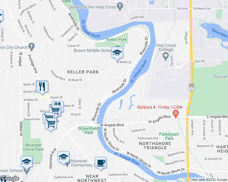 map of restaurants, bars, coffee shops, grocery stores, and more near Riverside Trail in South Bend