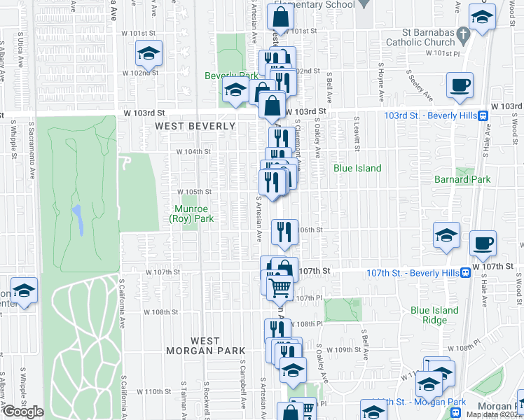 map of restaurants, bars, coffee shops, grocery stores, and more near 10547 South Artesian Avenue in Chicago