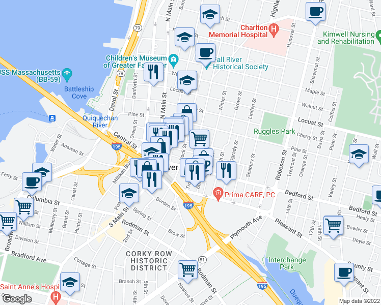 map of restaurants, bars, coffee shops, grocery stores, and more near 149 Franklin Street in Fall River