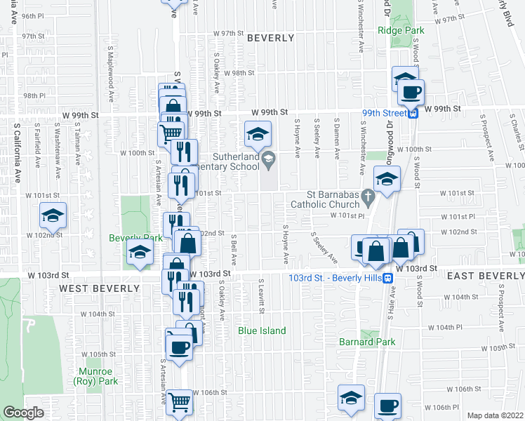 map of restaurants, bars, coffee shops, grocery stores, and more near 10145 South Leavitt Street in Chicago