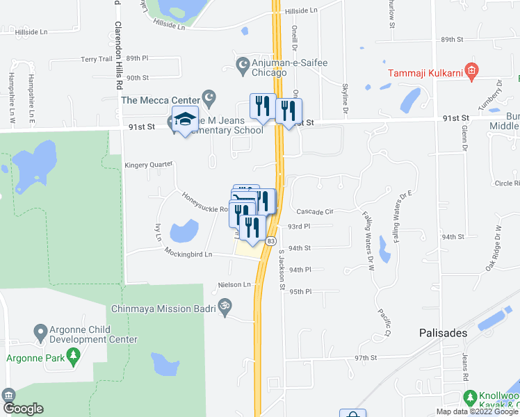 map of restaurants, bars, coffee shops, grocery stores, and more near 16W450 Honeysuckle Rose Lane in Willowbrook