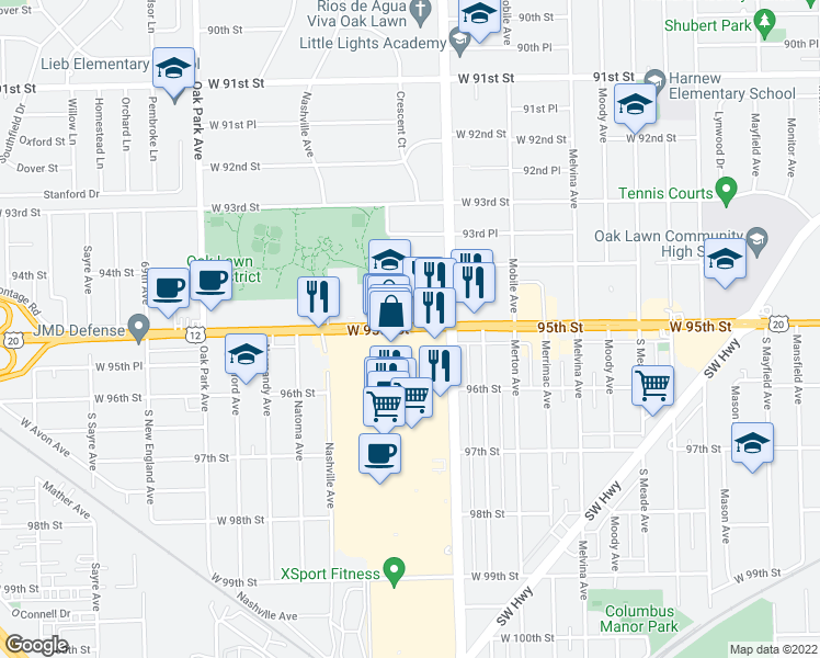 map of restaurants, bars, coffee shops, grocery stores, and more near 6409-6427 W 95th St in Chicago Ridge