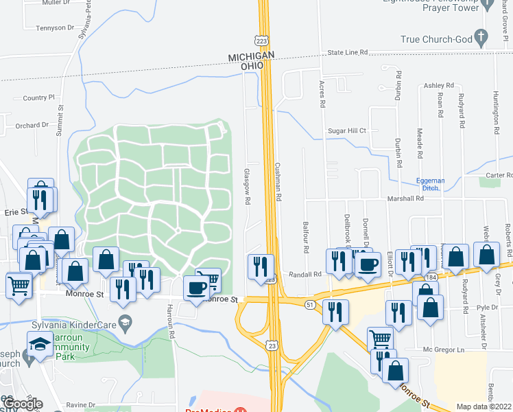 map of restaurants, bars, coffee shops, grocery stores, and more near 5780 Glasgow Rd in Sylvania