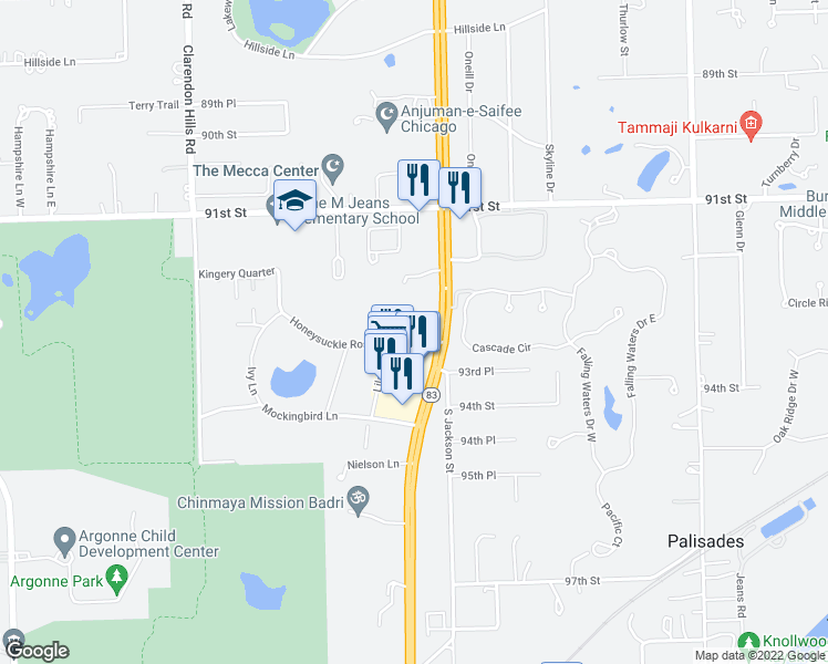 map of restaurants, bars, coffee shops, grocery stores, and more near 16W450 Honeysuckle Rose Ln in Willowbrook