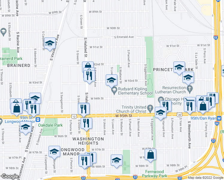 map of restaurants, bars, coffee shops, grocery stores, and more near 701 W 94th St in Chicago