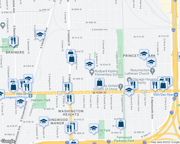 map of restaurants, bars, coffee shops, grocery stores, and more near 701 West 94th Street in Chicago