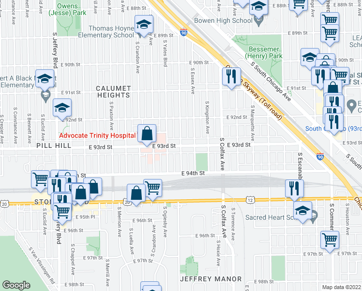 map of restaurants, bars, coffee shops, grocery stores, and more near E 93rd St & S Phillips Ave in Chicago