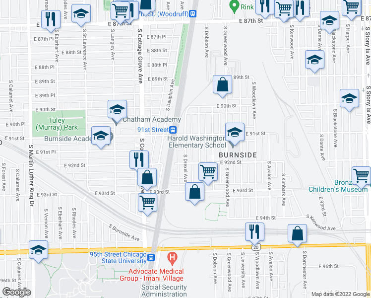 map of restaurants, bars, coffee shops, grocery stores, and more near E 91st Pl in Chicago