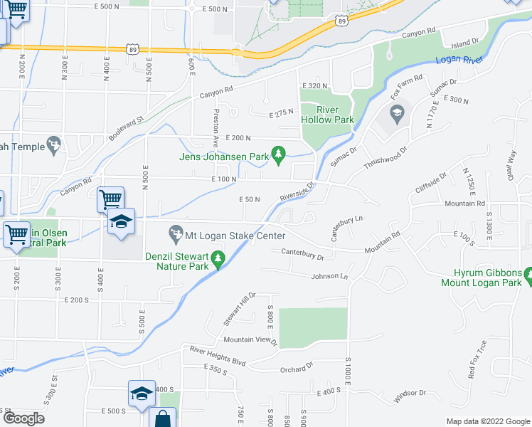 map of restaurants, bars, coffee shops, grocery stores, and more near 2-90 Riverside Drive in Logan