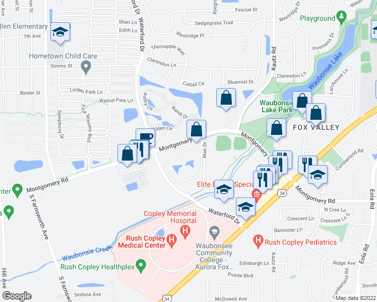 map of restaurants, bars, coffee shops, grocery stores, and more near 2010 Fox Pointe Dr in Aurora