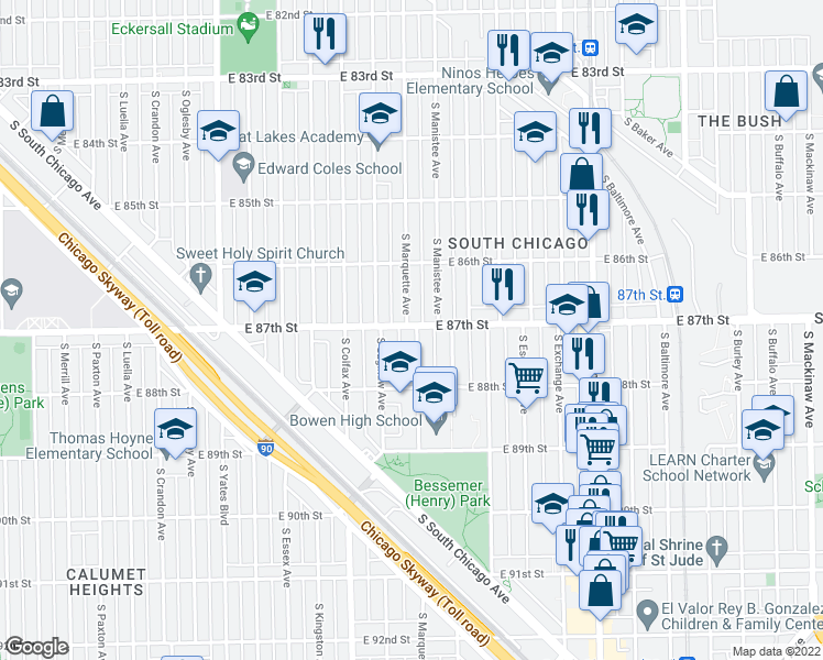 map of restaurants, bars, coffee shops, grocery stores, and more near 8700 South Marquette Avenue in Chicago