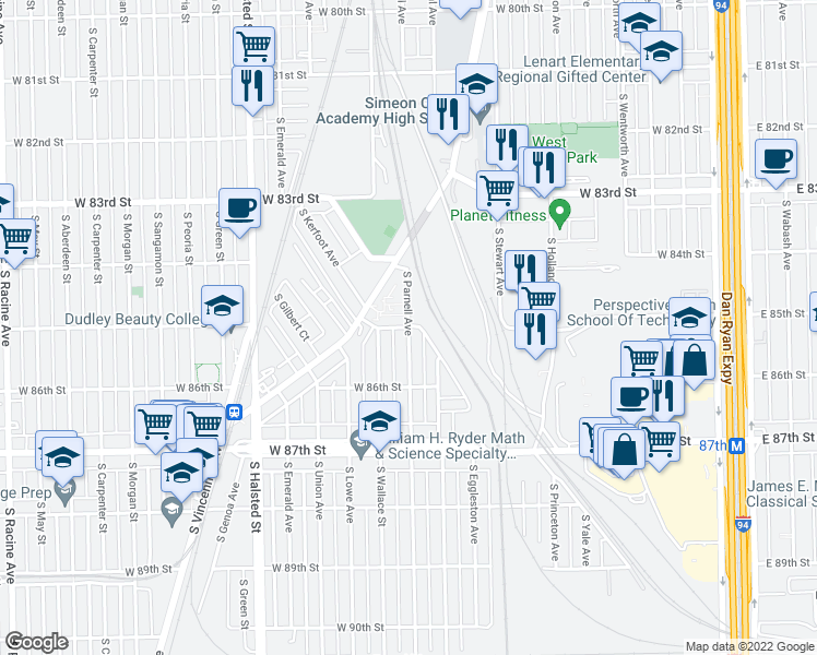 map of restaurants, bars, coffee shops, grocery stores, and more near W 85th St in Chicago