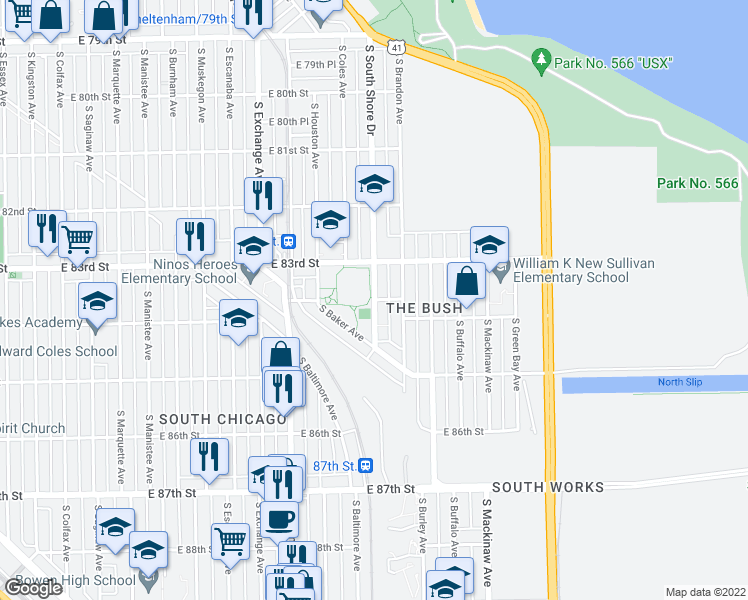 map of restaurants, bars, coffee shops, grocery stores, and more near S South Shore Dr in Chicago