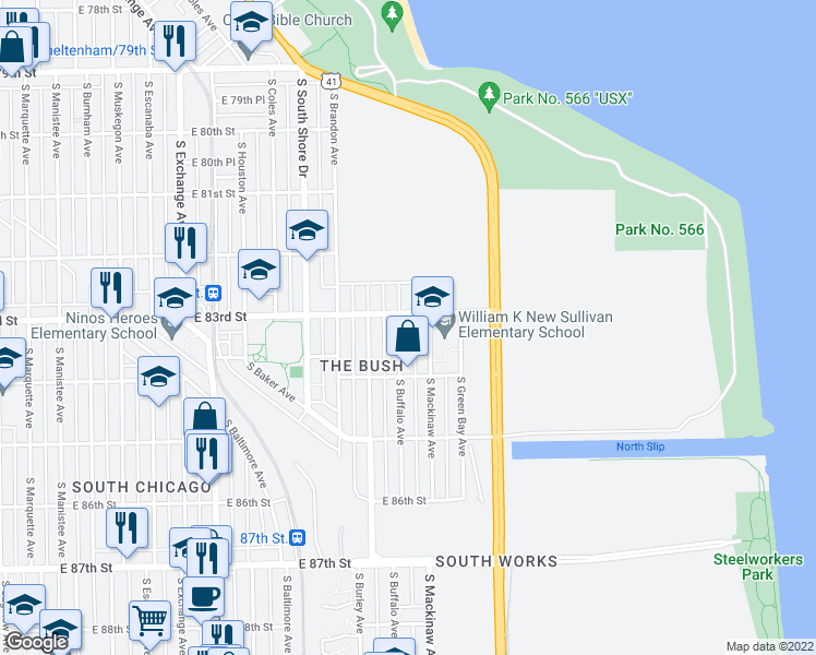 map of restaurants, bars, coffee shops, grocery stores, and more near 8311 South Buffalo Avenue in Chicago