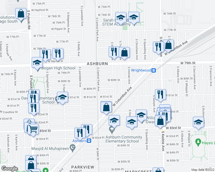 map of restaurants, bars, coffee shops, grocery stores, and more near 3518 West 80th Place in Chicago