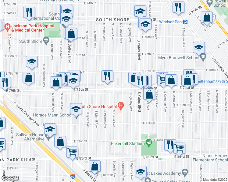 map of restaurants, bars, coffee shops, grocery stores, and more near 7922 South Luella Avenue in Chicago