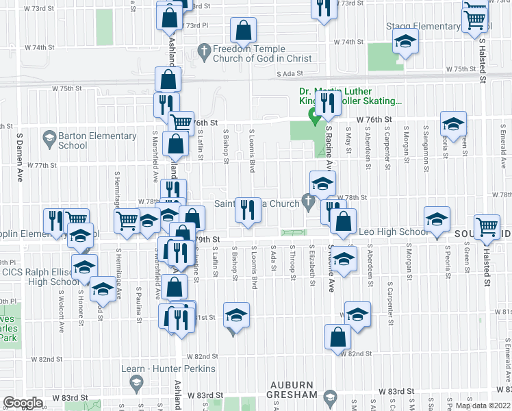 map of restaurants, bars, coffee shops, grocery stores, and more near 7811 South Loomis Boulevard in Chicago