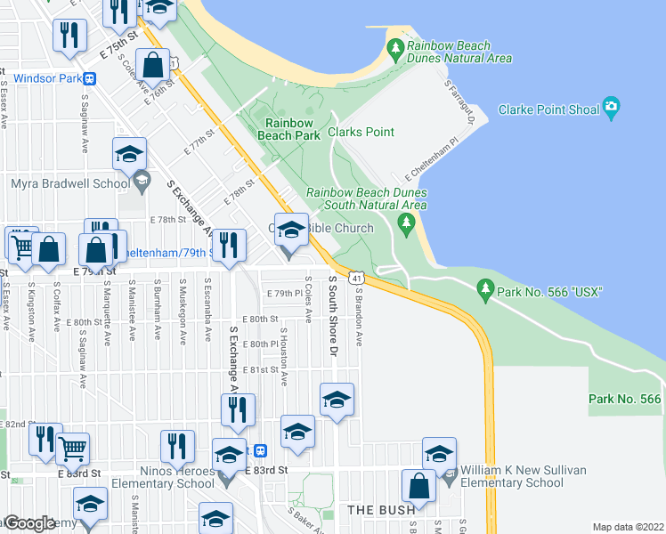 map of restaurants, bars, coffee shops, grocery stores, and more near South South Shore Drive & East 79th Street in Chicago
