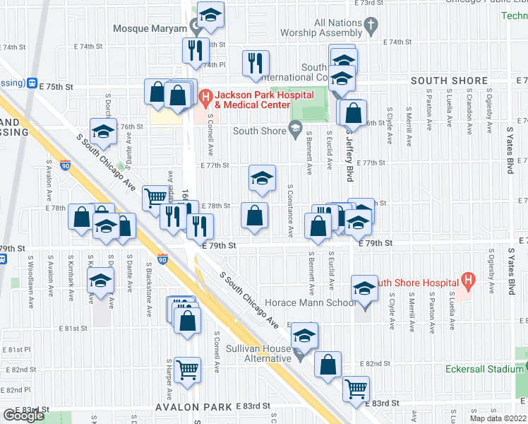 map of restaurants, bars, coffee shops, grocery stores, and more near 7806 S Cregier Ave in Chicago