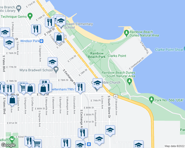 map of restaurants, bars, coffee shops, grocery stores, and more near 7818 South South Shore Drive in Chicago