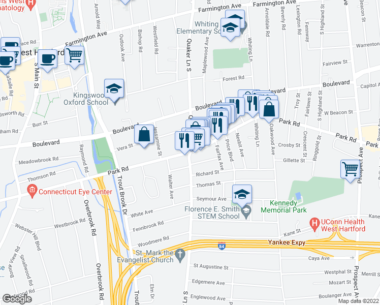 map of restaurants, bars, coffee shops, grocery stores, and more near Quaker Ln S & Park Rd in West Hartford