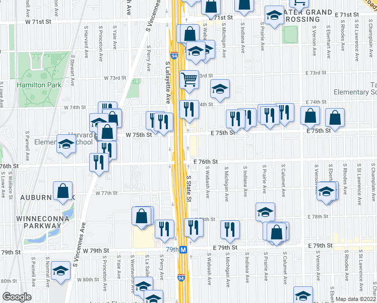 map of restaurants, bars, coffee shops, grocery stores, and more near South State Street in Chicago