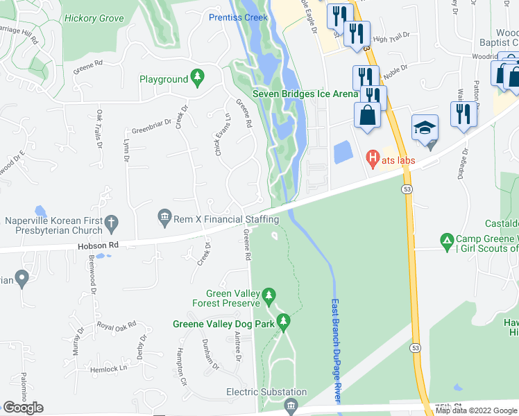 map of restaurants, bars, coffee shops, grocery stores, and more near Greene Trail in Naperville