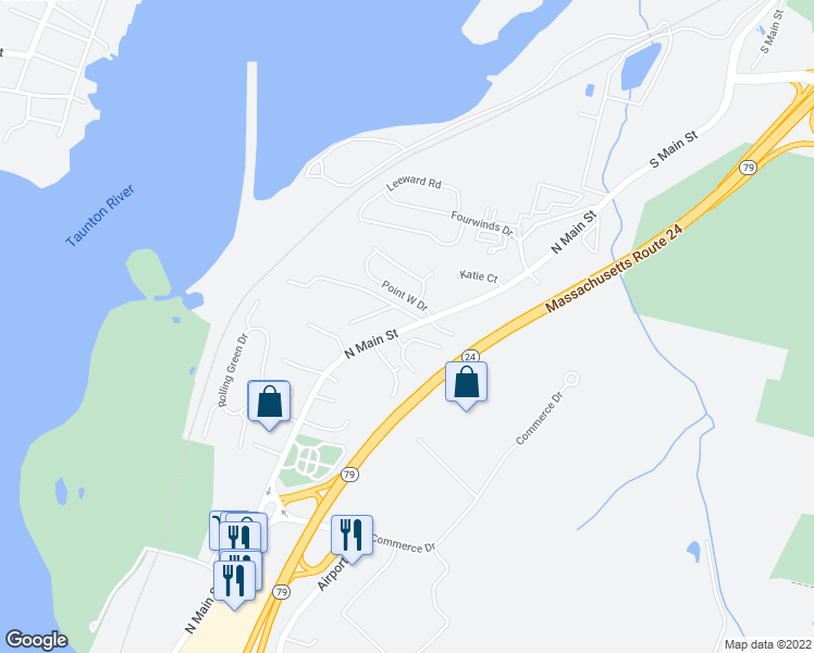 map of restaurants, bars, coffee shops, grocery stores, and more near 5136-5260 North Main Street in Fall River