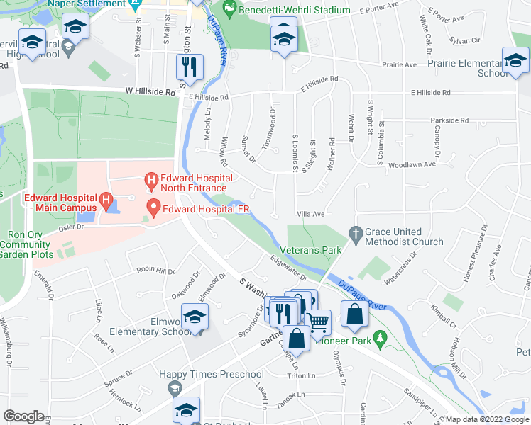 map of restaurants, bars, coffee shops, grocery stores, and more near in Naperville